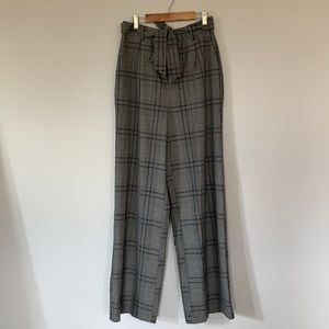 Forever 21 gray plaid paper bag style trousers